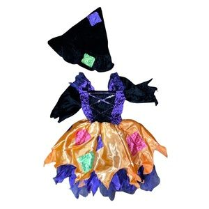 Toddler Girl (2T) Witch Outfit, skirt and velvet hat, Stretchy also fit 3T